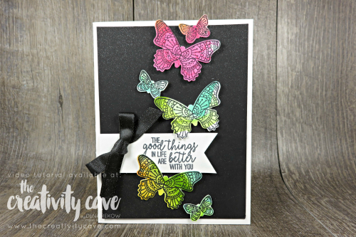 Check out the video tutorial on my blog for this and 5 other cards featuring Stampin Up Products! #thecreativitycave #stampinup #occasionscatalog #fblive #handmade #cardmaking #rubberstamping #butterflygala #watercolor