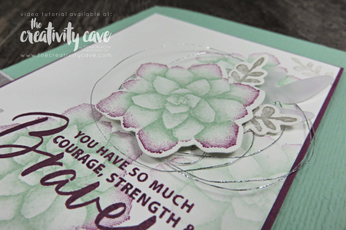 Check out the video for this gorgeous card featuring Sponging to add dimension to your stamps as well as another card featuring Stampin Up's Painted Season's Bundle and Tropical Chic Bundle on my blog at www.thecreativitycave.com #stampinup #thecreativitycave #frameltis #tropicalchic #paintedseasons #fourseasonsframelits #storylabelpunch #subtleembossingfolder #morethanwordsstampset #handmade