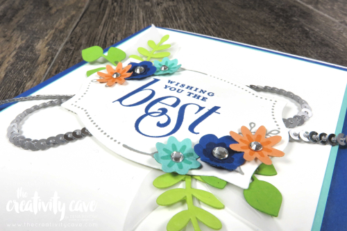 Video tutorial for this gorgeous card featuring Stampin Up's Floral Frame and Bloom by Bloom Bundles on my blog at www.thecreativitycave.com #stampinup #thecreativitycave #onlineclass #create #foiliageframeframelits #framelits #bittypunchpack