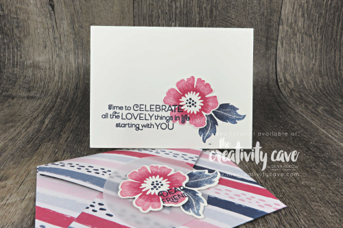 Video tutorial for this treat holder with a card featuring Stampin Up's Everything is Rosy Product Medley on my blog at www.thecreativitycave.com #stampinup #everythingisrosy #bigshot #framelits #printedpaper #create #treat #envelopepunchboard