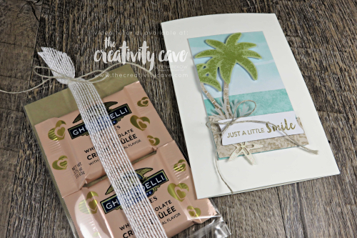 Great Video Tutorial for a slider chocolate holder and a sweet card featuring Stampin Up's A Little Smile Paper Pumpkin Kit (June 2019) on my blog at www.thecreativitycave.com #stampinup #thecreativitycave #paperpumpkin #alittlesmile #ghiradellichocolate #treatholder #handmade #rubberstamping #subscriptionbox