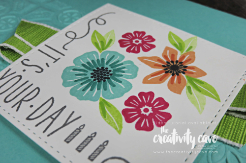 Check out the amazingly HAPPY card and matching treat bag (with video tutorial) created with Stampin Up's Beautiful Bouquet, Around the Corner and More than Words Stamp Sets on my blog at www.thecreativitycave.com #stampinup #thecreativitycave #handmade #beautifulbouquet #morethanwords #aroundthecorner #birthday