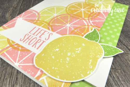 Cute card and video tutorial for a great layout and spring color combo on my blog featuring Stampin Up's Lemon Zest Stamp Set at www.thecreativityvave.com #stampinup #thecreativitycave #learntostamp #quickandeasy #create #paperpunch #printedpaper