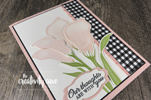 Check out this and several other cards (with video tutorial) that I created using Stampin Up's Pop Of Petals, Birthday Cheer, Abstract Impressions, Lasting Lily and Geared Up Garage Stamp Sets on my blog at www.tehcreativitycave.com #stampinup #thecreativitycave #abstractimpressions #LastingLily #birthdaycheer #gearedupgarage #handmadegreetingcards #create