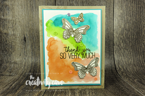 Check out the video for this and several other cards on my blog featuring Stampin Up's Butterfly Gala Bundle and Thankful Thoughts Stamp Set and a cool watercolor technique at www.thecreativitycave.com  #stampinup #thecreativitycave #butterflygala #thankfulthoughts #watercolor