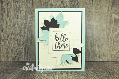 Video tutorial for this gorgeous card with a fun alternative featuring Stampin Up's I Say Hello and Gathering Leaves Dies on my blog at www.thecreativitycave.com #stampinup #thecreativitycave #gathertogether #gatheringleavesdies #create #fall #hello #cardmaking #rubberstamping
