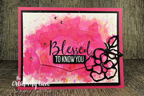 Check out the fun video tutorial for this beautiful background made with Stampin Up's Pigment Sprinkles and To A Wild Rose Bundle on my blog at www.thecreativitycave.com #stampinup #thecreativitycave #toawildrose #pigmentsprinkles #watercolor #cardmaking #create #handmade