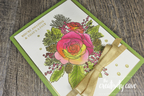 Check out the video tutorial for this and another card on my blog featuring Stampin Up's Sip Sip Hooray Set and Christmas Rose Bundle on my blog, www.thecreativitycave.com #stampinup #thecreativitycave #cardmaking #papercrafts #heatembossing #watercolor #dies #framelits #handmade