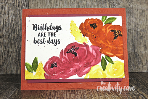 Check out the video tutorial with the Faux Watercoloring Technique for this beautiful card featuring Stampin Up's Beautiful Friendship Stamp Set on my blog at www.thecreativitycave.com #stampinup #thecreativitycave #handmade #watercolor #fauxwatercolor #embossing #tintileembossingfolder #beautifulfriendship