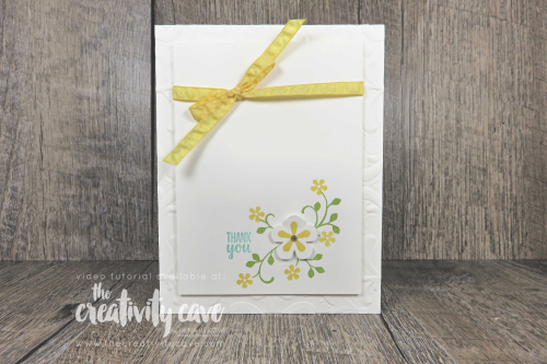 Check out this and 3 other awesome cards with video tutorial on my blog featuring Stampin Up's Golden Honey DSP, Seriously The Best Stamp set, thoughtful Booms Stamp Set, Small Bloom Punch, Gang's All Meer Stamp Set, Parisian Flourish Embossing Folder, and the So Sentimental Bundle at www.thecretivitycave.com #stampinup #thecreativitycave #youtubelive #handmade #create #framelits #dies #stitchedsosweetly #saleabration2020 #occasions2020 #bestdresseddsp #goldenhoneydsp