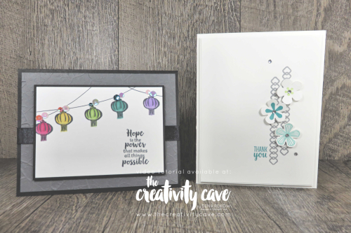 Great Video Tutorial with tips and tricks for making two fabulous cards featuring Stampin Up's 2020 Saleabration sets, Power of Hope and Thoughtful Blooms on my blog at www.thecreativitycave.com #stampinup #powerofhope #thecreativitycave #cardmaking #framelits #paperpunches #dies #handmade #create #alcoholmarkers #stampinblends #stone3Dembossingfolder #smallbloompunch