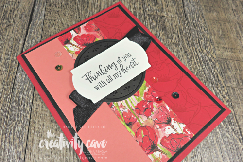 Video tutorial for this gorgeous card featuring Stampin Up's Painted Poppies Suite of products including the Peaceful Moments Stamp Set and Painted Poppies Stamp Set on my blog at www.thecreativitycave.com and don't forget to snag the All Star Tutorial PDF On the Painted Poppies Suite while you are there! #stampinup #videotutorial #thecreativitycave #peacefulmoments #paintedpoppies #thinkingofyou #alcoholmarkers #stampinblends #bigshot #framelits #dies #coloring #create
