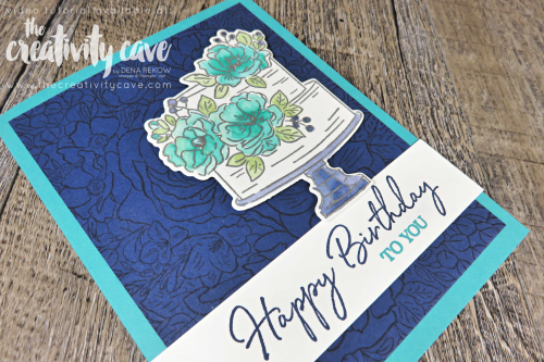 Check out the video tutorial for this gorgeous watercolored card featuring Stampin Up's Happy Birthday To you Sale-a-bration set on my blog at www.thcreativitycave.com #stampinup #birthdaydies #happybirthdaytoyou #watercolor #heatembossing #handmade #dies #frameltis #birthday