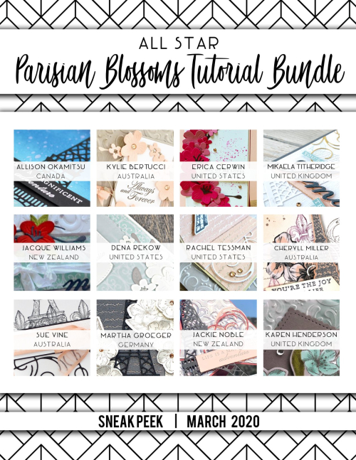 Register for the All Star tutorial Bundle (or get it free with your $50 purchase from my stampin up store! Details on my blog: www.thecreativitycave.com #projecttutorial #parisianblossomssuite #thecreativitycave #cherryblossomdies #foreverblossoms #parisianbeauty