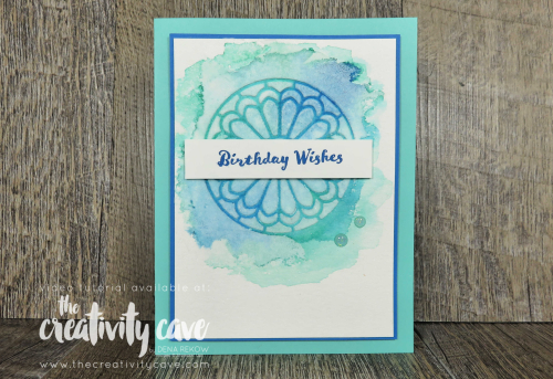 Check out this and 3 more cards with fun techniques on them from my YT Live on my blog featuring Stampin Up's Ornate Garden Suite, Stained Glass Dies, Over the Moon Stamp Set, Stampi Blends and more at www.thecreativitycave.com #embossingpaste #thecreativitycave #stsampinup #create #rectangledies #spotlighttechnique #watercolor #stampinblends #overthemoon