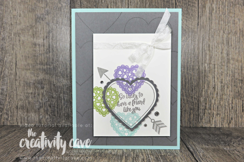 Check out the video tutorial for this card and a cute treat bag on my blog at www.thecreativitycave.com and don't forget to shop my online store to get the supplies to make this adorable project at www.thecreativitycave.com #stampinup #thecreativitycave #create #valentines #handmade #create #valentinesdaycards