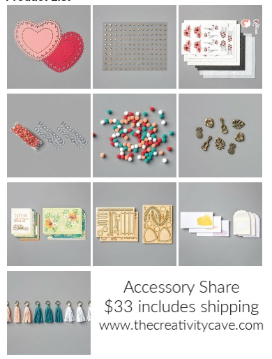 Register for your Accessory Share from The Creativity Cave today at www.thecreativitycave.com #stampinup #thecreativitycave #handmade #embellishments #productshare #occasions2020
