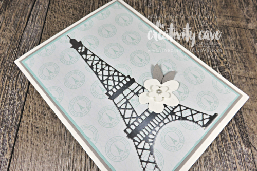 Check out the Gorgeous Card (and video tutorial) for this Parisian Blossoms Suite Card on my blog featuring Stampin Up's Parisian Beauty Bundle and Cherry Blossom Dies on my blog at www.thecretivitycave.com #stampinup #thecreativitycave #gorgeous #eiffeltower #parisianblossoms #handmade #framelits