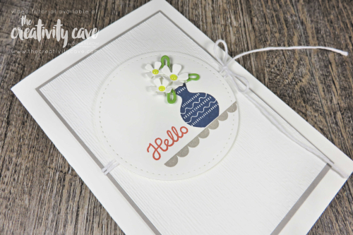 Video tutorial with tips and 3 adorable versions of this super simple card featuring Stampin Up's Varied Vases Stamp Set and Lovely Flowers Dies on my blog at www.thecreativitycave.com #stampinup #simpletostunningsundays #handmadegreetingcards #cardmaking #paper #dies #notecards