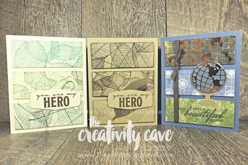Great video tutorial to create these three masculine card designs for my Simple to Stunning Sundays Series featuring Stampin Up's Loyal Leaves Stamp Set and Beautiful World Bundle on my blog at www.thecreativitycave.com #stampinup #S2SS #LoyalLeaves #beautifulworldbundle #masculinecards #handmade #tastefullabeldies #learntostamp #hanmade #DIY #creativity #rubberstamping