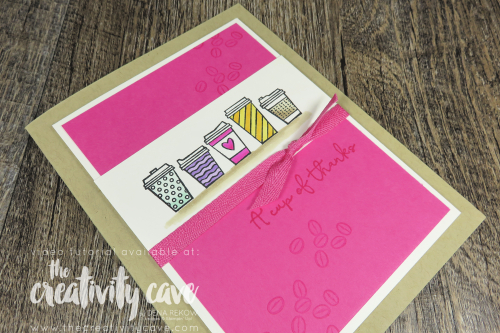Awesome Video tutorial for this adorable Gift Card Holder Card featuring Stampin Up's Press On Stamp Set from the New Holiday Catalog on my blog at www.thecreativitycave.com #stampinup #thecreativitycave #pressonstampset #giftcardholder #thankyoucard #coffee #printedpaper #dsp #cardmaking