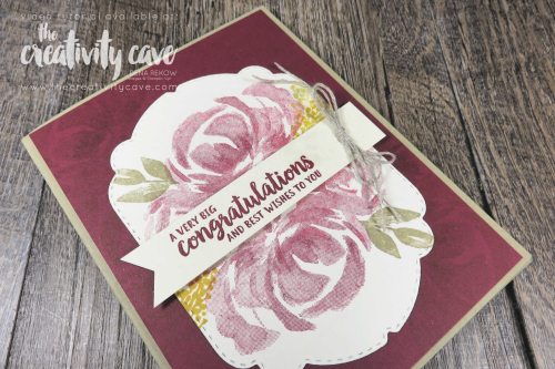 Check out the video tutorial (including how to make shimmer spray) featuring this gorgeous card made with Stampin Up's Beautiful Friendship on my blog at www.thecreativitycave.com #stampinup #celebrationlabelsdies #beautifulfriendship #handmade #shimmerspray #cardmaking