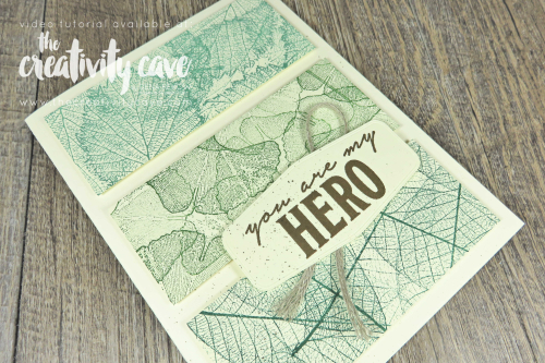 Great video tutorial to create this and two other masculine card designs for my Simple to Stunning Sundays Series featuring Stampin Up's Loyal Leaves Stamp Set and Beautiful World Bundle on my blog at www.thecreativitycave.com #stampinup #S2SS #LoyalLeaves #beautifulworldbundle #masculinecards #handmade #tastefullabeldies #learntostamp #hanmade #DIY #creativity #rubberstamping