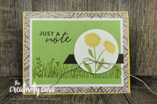 Check out the video from this month's Stampin Game Night Workshop for this and 4 more cards featuring Stampin Up's Simply Citrus Card Kit, Whiskey Business stamp set and the Field of Flowers Bundle on my blog at www.thecreativitycave.com #stampinup #stampingamenightworkshop #thecreativitycave #cardmaking #handmade #diy #stampinbingo #printedpaper #whiskeybusiness #fieldofflowers #simplycitruscardkit