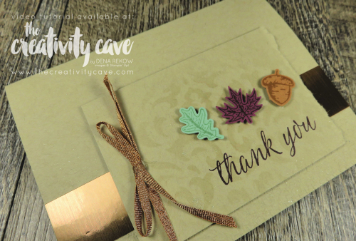 Great Video Tutorial with lots of tips and tricks for creating this simple card filled with fun texture on my blog at www.thecreativitycave.com and don't forget to register for the Gilded Autumn Online class while you are there! #stampinup #thecreativitycave #gildedautumn #onlineclass #fallcards #diy #create #handmade #thankyou