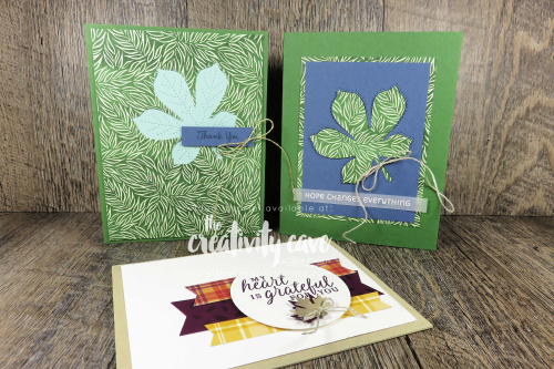 """Video tutorial with some great tips and tricks for these gorgeous """"leafy"""" cards featuring Stampin Up's Love of Leaves Bundle and Gilded Autumn Suite on my blog at www.thecreativitycave.com #stampinup #thecreativitycave #handmade #create #fallleaves #thankful #grateful #gildedautumn #beautifulautumn #loveofleaves"""
