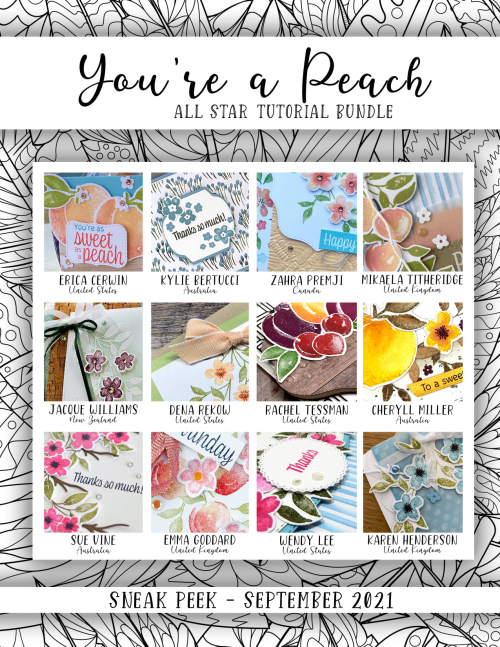 You're a Peach All Star Tutorial Bundle PDF free with a $50 purchase in my online store: https://www.stampinup.com?hostcode=WG6UXVGD or $15 here: https://the-creativity-cave.myshopify.com/products/youre-a-peach-all-star-video-tutorial-bundle