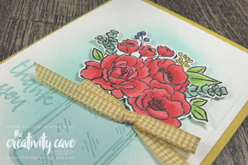 Video Tutorial for this gorgeous card with lots of tips and tricks featuring Stampin Up's Jar of Flowers Bundle (part of the Flowers for Every Season Suite) on my blog at www.thecreativitycave.com #handmade #thecreativitycave #stampinup #jarofflowers #flowersforeveryseason #stampinblends #thankyou